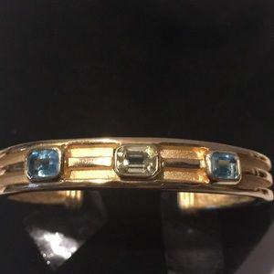 Jewelry - Vintage gold gemstone adjustable bangle bracelet